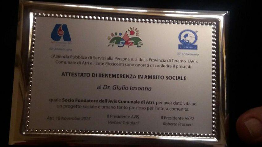 Nutrizionista Roma, Pescara - Attestato al Dr. Giulio IASONNA
